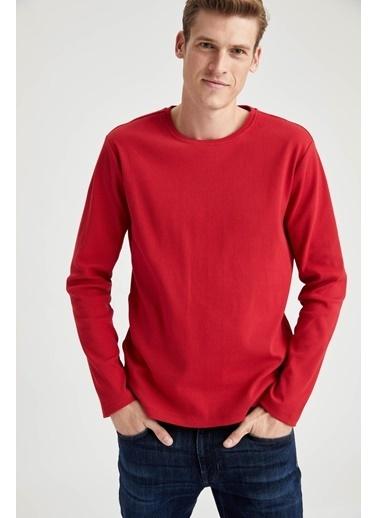 DeFacto Bisiklet Yaka Slim Fit Uzun Kollu Basic Tişört Kırmızı